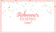 Personalized & custom girls birthday party banner or backdrop. Pink confetti theme. For sale online in Australia.