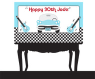 Personalized & custom adults or kids birthday party banner or backdrop. Your message and text. Rock N Roll party theme.