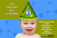 Boys Party Hat Birthday Party Invitations