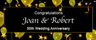 Personalised 50th wedding anniversary banner. Australian based online banner printer.