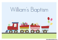 Personalised Baptism Christening Train Cake Icing sheet