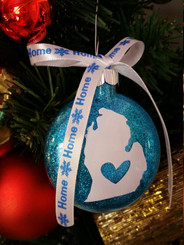 Michigan Glitter Christmas Ornament