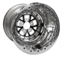 "Weld Racing V-Series Lite DBL, 16"" x 16"", 5 x 4.75"", 5"" BS, Polished Shell/Ring, Black Center"