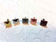 Gold, Silver, Pewter, Copper, Bronze, square faceted brads