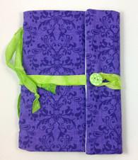 Fabric Art Journal: Purple Damask front view
