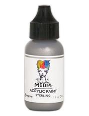 Ranger/ Dina Wakley Media Metallic Heavy Body Acrylic Paint 29ml (1 fl.oz)- Sterling (SDMDQ54153)
