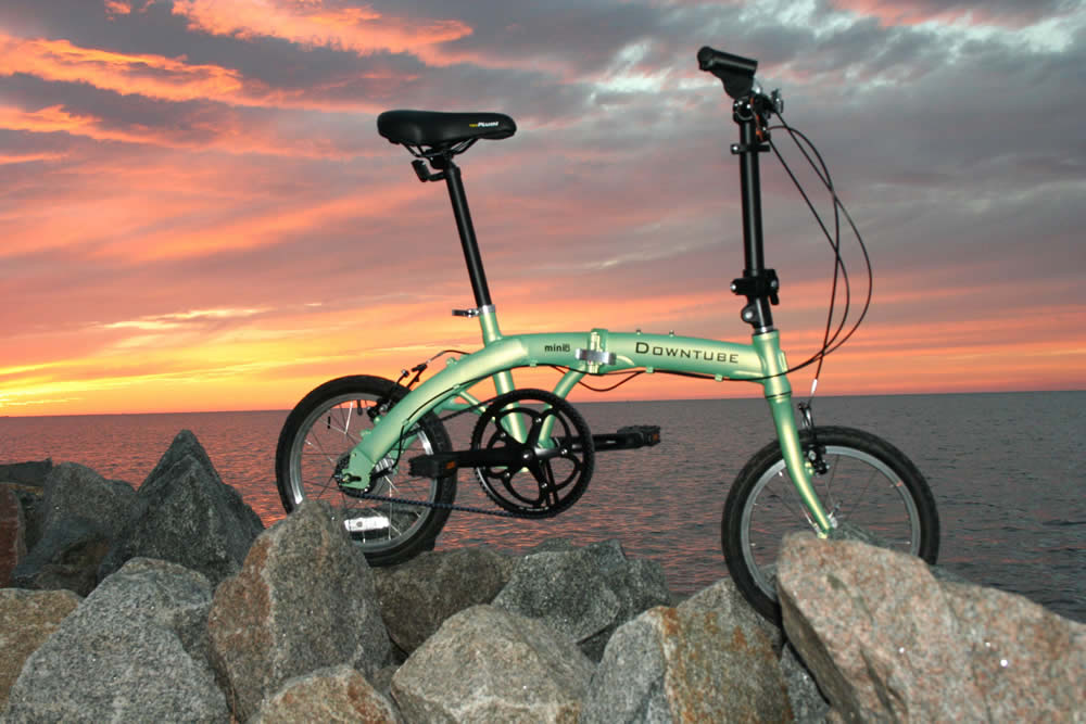 mini folding bike with a Golden Sunset