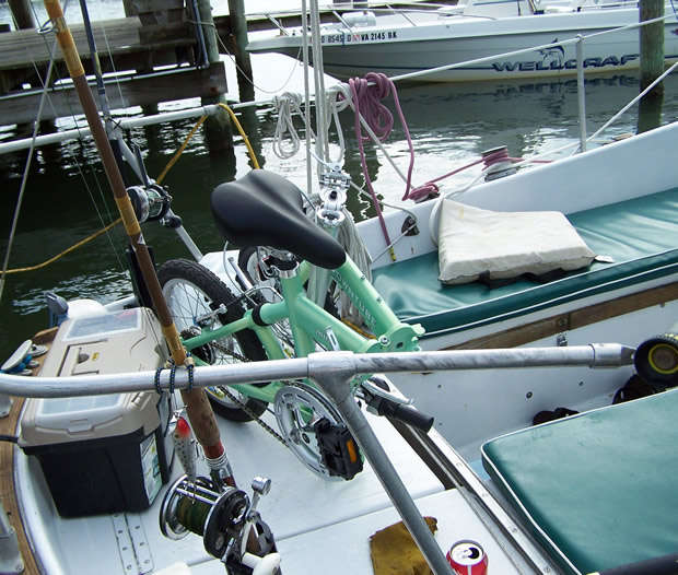 folding bike on a boat top view