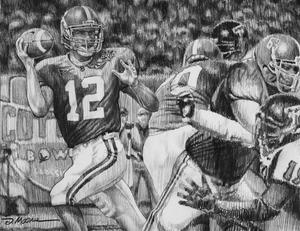The Last Pass - Pencil Drawing - Alabama Football vs. Texas Tech 2006 (Cotton Bowl)