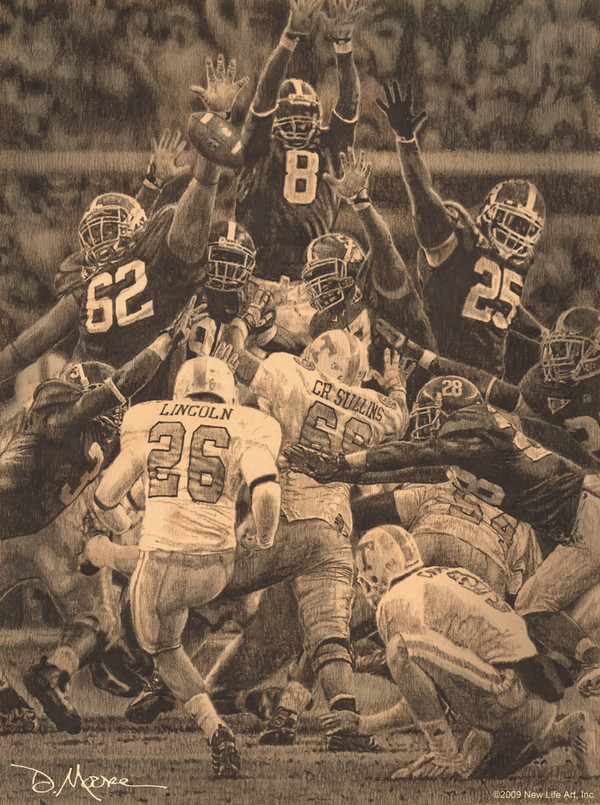 Maximum Block - Pencil Drawing - Alabama Football vs. Tennessee 2009