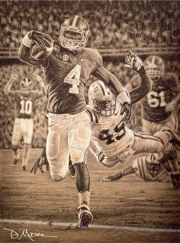 Death Valley Drive - Pencil Drawing - Alabama Football vs. LSU 2012