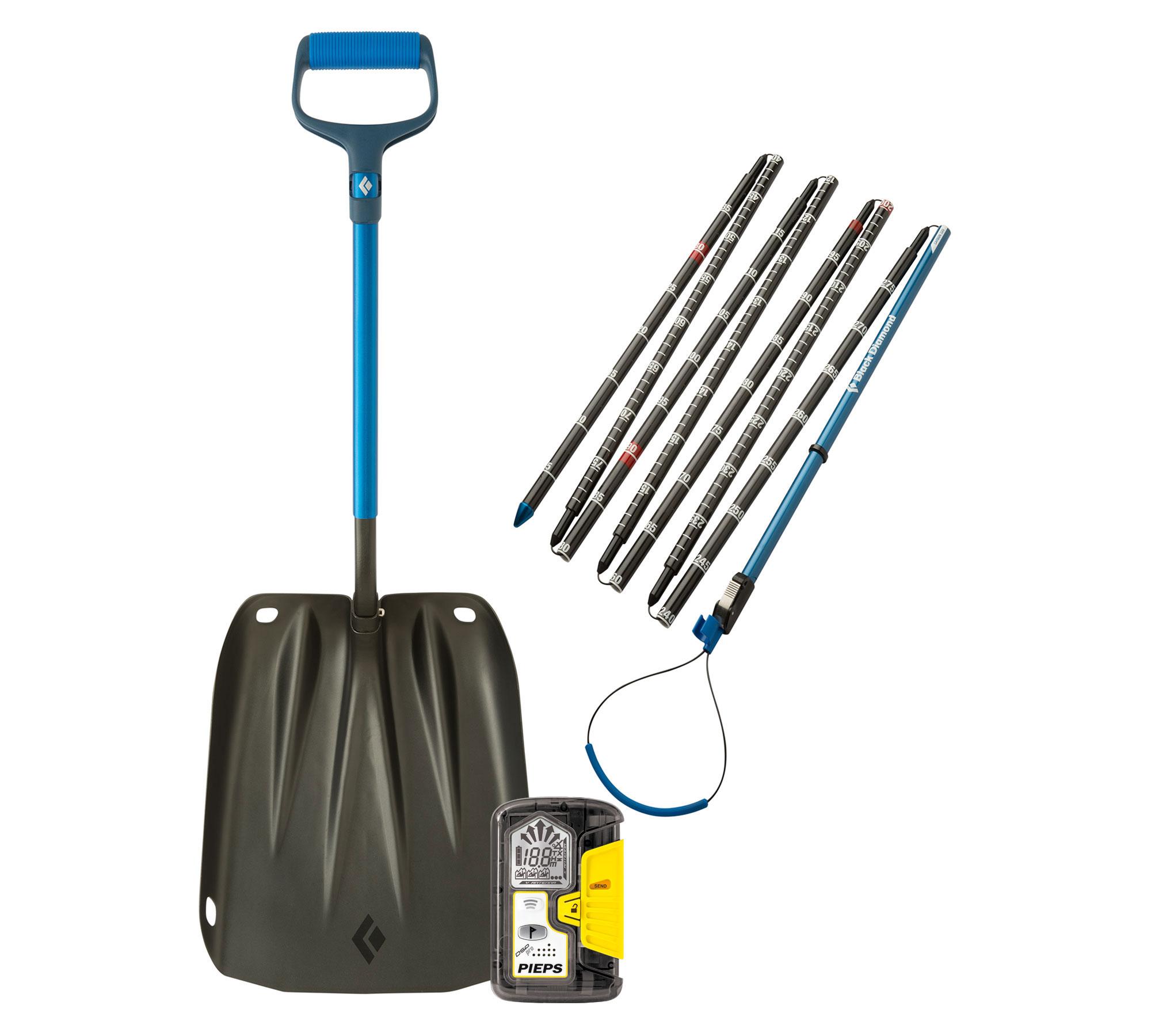beacon, shovel, and probe