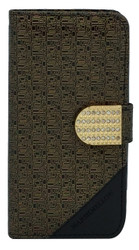 Samsung Note 5 Design Wallet with Bling Gold