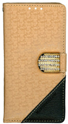 Samsung Galaxy Grand Prime Design Wallet With Bling Light Brown