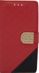 Alcatel Idol 3 5.5  Design Wallet With Bling Red