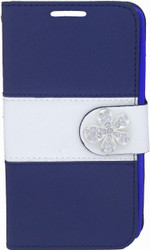LG Optimus F60 MM Flower Wallet Navy