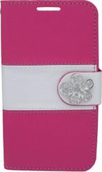 LG Optimus F60 MM Flower Wallet Pink