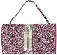Universal Reiko Horizontal Bling Diamonds Pouch 6 In Hot Pink