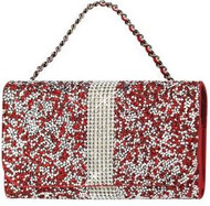 Universal Reiko Horizontal Bling Diamonds Pouch 6 In Red