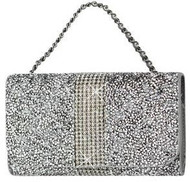 Universal Reiko Horizontal Bling Diamonds Pouch 6 In Silver