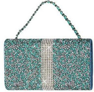 Universal Reiko Horizontal Bling Diamonds Pouch 5.5 In Teal