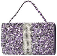 Universal Reiko Horizontal Bling Diamonds Pouch 5.5 In Purple