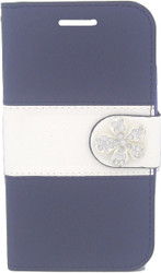 Motorola E2 LTE CDMA MM Flower Wallet Navy