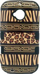 Motorola E2 LTE CDMA MYBAT Zebra Skin-Leopard Skin/Black TUFF Hybrid Phone Protector Cover