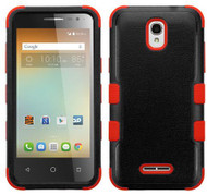 Alcatel Elevate MYBAT Natural Black/Red TUFF Hybrid Phone Protector Cover