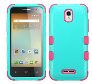 Alcatel Elevate MYBAT Natural Teal Green/Electric Pink TUFF Hybrid Phone Protector Cover