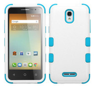 Alcatel Elevate MYBAT Natural Ivory White/Tropical Teal TUFF Hybrid Phone Protector Cover