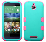 SOLD OUT HTC Desire 510 MYBAT Rubberized Teal Green/Electric Pink TUFF Hybrid Phone Protector Cover