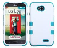 LG Optimus L70 MYBAT Ivory White/Tropical Teal TUFF Hybrid Phone Protector Cover