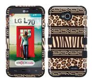 LG Optimus L70 MYBAT Zebra Skin-Leopard Skin/Black TUFF Hybrid Phone Protector Cover