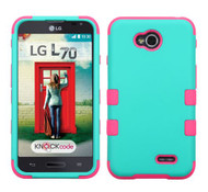 LG Optimus L70 MYBAT Rubberized Teal Green/Electric Pink TUFF Hybrid Phone Protector Cover