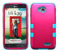 SOLD OUT LG Optimus L70 MYBAT Titanium Solid Hot Pink/Tropical Teal TUFF Hybrid Phone Protector Cover