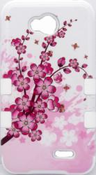 LG Optimus L70 MYBAT Spring Flowers/Solid White TUFF Hybrid Phone Protector Cover