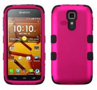 Kyocera Hydro Icon/ Life/ Vibe MYBAT Titanium Solid Hot Pink/Black TUFF Hybrid Phone Protector Cover
