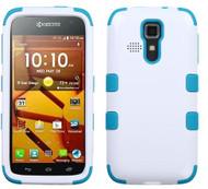 Kyocera Hydro Icon/ Life/ Vibe MYBAT Ivory White/Tropical Teal TUFF Hybrid Phone Protector Cover