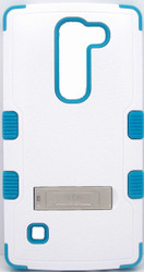 LG Spirit MYBAT Natural White/ Tropical Teal TUFF Hybrid Phone Protector Cover (with Stand)