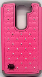LG Spirit ASMYNA Hot Pink/Solid Grey Full Star Protector Cover