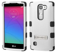 LG Escape MYBAT Natural Gray/Black TUFF Hybrid Phone Protector Cover (with Stand)