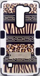 LG EscapeMYBAT Zebra Skin-Leopard Skin/Black TUFF Hybrid Phone Protector Cover(With Stand)