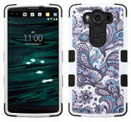 LG V10 MYBAT Purple European Flowers/Black TUFF Hybrid Protector Cover