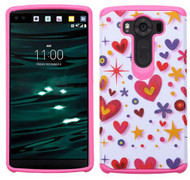 LG V10 ASMYNA Heart Graffiti(White)/Hot Pink Advanced Armor Protector Cover