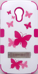 Motorola Moto G 2nd Gen MYBAT Natural White/Pink Butterfly TUFF Hybrid Phone Protector Cover (with Stand)