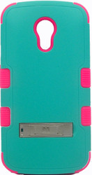 Motorola Moto G 2nd Gen MYBAT Natural Green/Teal Pink  TUFF Hybrid Phone Protector Cover (with Stand)