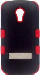 Motorola Moto G 2nd Gen MYBAT Natural Black/Red  TUFF Hybrid Phone Protector Cover (with Stand)