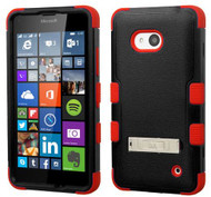 Microsoft Lumia 640 MYBAT Natural Black/Red TUFF Hybrid Phone Protector Cover (with Stand)