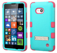 Microsoft Lumia 640 MYBAT Natural Teal Green/Electric Pink TUFF Hybrid Phone Protector Cover (with Stand)